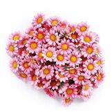 Gleader Lot de 100têtes de Fleurs artificielles en Soie, Marguerites Gerbera, Rose Clair