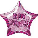 Unique Party - 55101 - Ballon Anniversaire - Happy Birthday - 50 cm - Rose Glitz