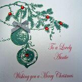 White Cotton Cards X35 To a Lovely Auntie Carte de Noël faite à la main Blanc