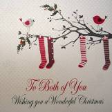 White Cotton Cards To Both of You» («Wishing You a Wonderful Christmas Carte faite à la main Motif en bas