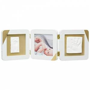 ART My Baby Touch Cadre d'empreinte pour enfant, porte-photo empreintes bébé avec kit prt pour réaliser des talcs mains et pieds nouveaux-nés, couleur or - Publicité