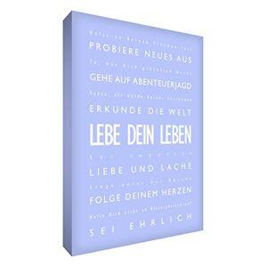 """Little Helper lvlf121614G Feel Good Art Décoration murale sur une toile épaisse dans un style Typographie moderne""""Lebe dein Leben (texte allemandLive Your Life), 40x 30cm, bleu clair - Publicité"""