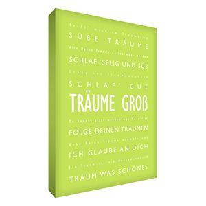 Little Helper DRBG1216-02G Feel Good Art Tableau sur toile avec citations en langue allemande Typographie moderne Vert tilleul 40 x 30 cm - Publicité