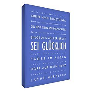 """Little Helper bh243604G/Nv Feel Good Art Décoration murale sur une toile épaisse dans un style""""SEI Glcklich (Be Happy Typographie moderne), 91x 60cm, bleu - Publicité"""