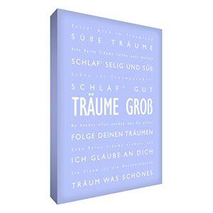Little Helper DRBG1216-14G Feel Good Art Tableau sur toile avec citations en langue allemande Typographie moderne Bleu clair 40 x 30 cm - Publicité