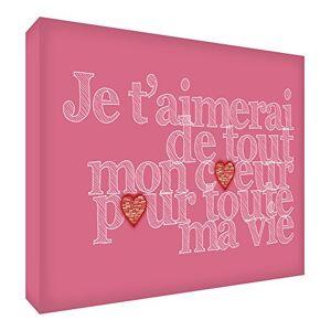 ART Je t'aimerai de Tout mon Coeur pour Toute ma Vie Bloc Décoratif en Acrylique Vieux Rose 21 x 14 X 2 cm - Publicité
