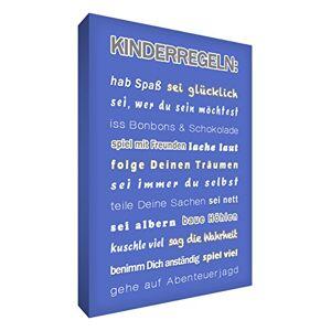 """Little Helper KR1624-04G Feel Good Art Tableau sur toile avec citations en langue allemande""""les rgles des enfants"""" Typographie moderne Bleu 60 x 40 cm - Publicité"""