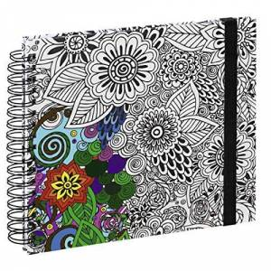 """Hama Carnet  spirale """"Colorare"""", 28x24cm, 50pages blanches, fleurs - Publicité"""