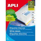 Apli Etiquettes blanches format 210x297mm par 100