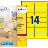 Avery 350 Etiquettes Autocollantes Amovibles (14 par Feuille) - 99,1x38,1mm - Impression Laser - Jaunes Fluo (L7263Y)