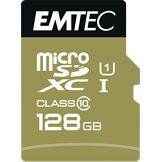 Emtec Carte microSD 128GB UHS-I U1 EliteGold avec adaptateur Performance vitesse de lecture jusqu'à 85MB/s