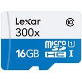 Lexar - 300x Micro SDHC™ UHS-1 Carte Micro SD Haute-Performance 16GB Class 10 – Blanc/Bleu