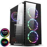 CiT Raider Gaming Case 4 x Halo Spectre RGB Ventilateurs Verre Avant et Côté MB SYNC