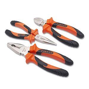 finder QZ190296P Long Nose, Cutting and Combination Pliers Set, Set of 3pcs - Publicité