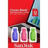 SanDisk Clé USB SanDisk Cruzer Blade 32 Go, de Couleur et par Paquet de Trois