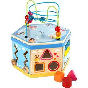 """Small Foot by Legler small foot 10433 Cube de motricité  """"Marchand de sable"""", avec jeu de forme, jeu  pousser, bote  musique et circuit de motricité,  partir de 1 an - Publicité"""