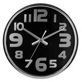 Premier Housewares 2200604 Horloge Murale en Acier Inoxydable et Visage en Noir