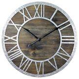 Geko Horloge en Bois avec Chiffres Romains en Zinc 40 cm, Marron, Argent, Taille Unique