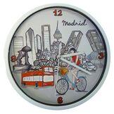 Nadal Horloge Moyen Madrid en vélo, Multicolore, 20x 20x 3,45cm