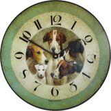 Roger Lascelles Clocks Roger Lascelles - 4 Chiens et Un Knave Horloge Murale