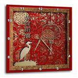 3dRose DPP 12979_ 1Grue et Lanterne, Happy Nouvel an Chinois en Chinois Horloge Murale, 10par 25,4cm