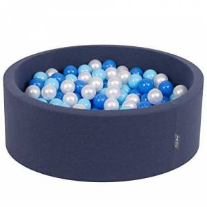 KiddyMoon 90X30cm/200 Balles  7Cm Piscine  Balles Pour Bébé Rond Fabriqué En UE, Bleu Foncé: Babyblue/Bleu/Perle - Publicité