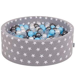 KiddyMoon 90X30cm/300 Balles  7Cm Piscine  Balles pour Bébé Rond Fabriqué en UE, toiles Blanc-Gris: Transp-Argenté-Perle-Babyblue - Publicité
