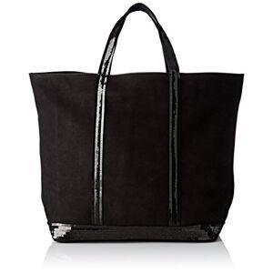 Vanessa Bruno Femme Cabas medium + -cuir nubuck et paillettes, Noir, Taille Unique - Publicité