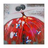 ART World Art Dame avec Papillons Peintures sur châssis décoratif Bois, Multicolore, 100x100x3,5 Cm