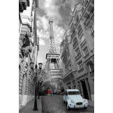 1art1® 1art1 54454 Poster Tour Eiffel Paris Femme en Rouge 2 Chevaux en Bleu 91 x 61 cm