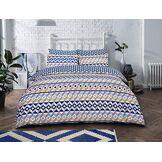 Sleepdown Parure de lit à Rayures géométriques en Coton mélangé Bleu Super King Size
