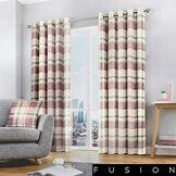 Fusion Rideaux à œillets doublés, 100% Coton, Blush, Largeur x 228,6cm de Hauteur (229x 229cm)
