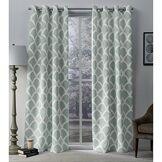 Exclusive Home Curtains Exclusif Maison Rideaux Durango Imprimé géométrique en Satin de Coton tissé pièce Obscurcir Grommet Top Panneau de Rideau de fenêtre, mer en Mousse, 52x 96cm