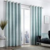 Curtina Rideaux à œillets doublés, 100% Polyester, Bleu Canard, Largeur x 228,6cm de Hauteur (229x 229cm)
