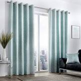 Curtina Rideaux à œillets doublés, 100% Polyester, Bleu Canard, 167,6cm de Large x 182,9cm de Hauteur (168x 183cm)