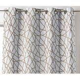 LINDER 0977/18/375FR Rideau Motif Géométrique Polyester/Lin/Coton Beige 135 x 260
