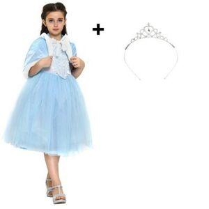 Katara Robe de déguisement de princesse d'hiver pour enfants, avec couronne costume de carnaval avec cape et capuche pour filles bleu 7-8 ans - Publicité