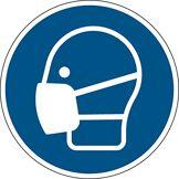 Brady 820209 Obligation Polyester laminé Panneau, Masque obligatoire, 200 mm diamètre, Blanc sur Bleu