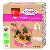 Babybio Lot de 4 Gourde Prune 360 g