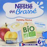 Nestlé bébé P'tit Brassé Bio Pomme Pêche Laitage dès 6 mois 4 x 90g - Lot de 6