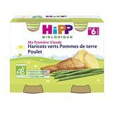 Hipp Biologique Haricots Verts Pommes de Terre Poulet Dès 6 Mois 2 Pots de 190 g