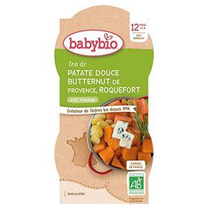 BabyBio Bols Patate Douce Butternut Roquefort 2x200 g 12+ Mois BIO Lot de 2 - Publicité