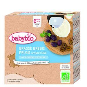 BabyBio Lait de brebis franais Gourdes Brassé Prune d'Aquitaine 4x85 g 6+ Mois BIO - Publicité