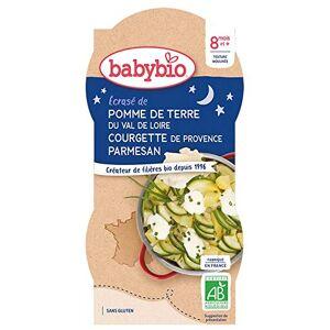 BabyBio Bonne Nuit Bols Ecrasé de Pomme de Terre Courgette de Provence 2x200 g 8+ Mois BIO Lot de 3 - Publicité