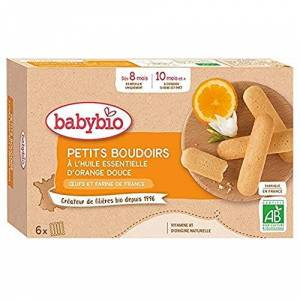 BabyBio Petits Boudoirs  l'Huile Essentielle d'Orange Douce 120 g BIO - Publicité