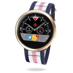 MyKronoz ZeRound2 HR Premium Smartwatch avec capteur de Rythme Cardiaque, Microphone et Haut-Parleur intégré – Or Rose brossé/Bracelet NATO Rose Bleu Blanc - Publicité