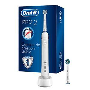 Oral-B Pro2 2700 Brosse à Dents Électrique Rechargeable, 1Manche avec Capteur de Pression Visible, 2Brossettes - Publicité