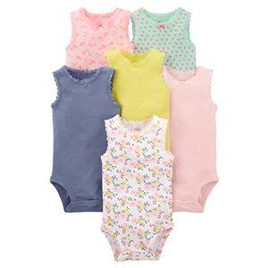 Simple Joys by Carter's 6-pack Sleeveless Bodysuit Body Pink, Purple, Yellow, Floral 6-9 Months Lot de, 1 - Publicité
