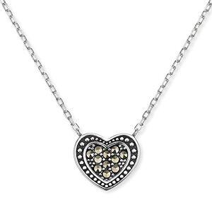 """Engelsrufer coeur collier avec pendentif pour femmes Vintage Look 925-Sterling argent Markasite longueur 40 cm (15,75"""") + 4 cm (0,16) - Publicité"""