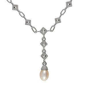 Esse Marcasite Bague en Argent Sterling plaqué rhodium et marcassite Y perle d'eau douce collier de 46cm - Publicité